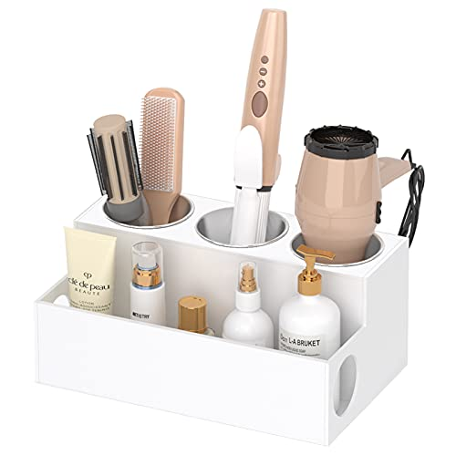 NIUBEE Hair Tool Organizer, White Acrylic Hair Dryer and Styling Holder, Bathroom Countertop Blow Dryer Holder, Vanity Caddy Storage Stand for Accessories, Makeup, Toiletries