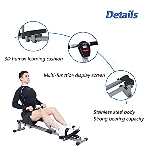 sogesfurniture Rowing Machine for Home Use,Adjustable Resistance Rowing Machine with LCD Display,Home Fitness Indoor,BHEU-YKTH-PM-B