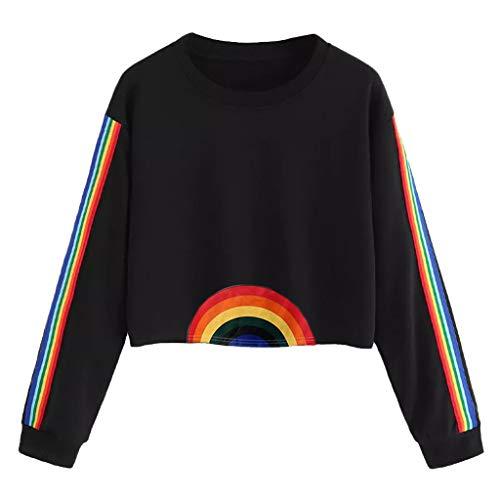 iYmitz Damen Lange Ärmel Gestreifte Crop Hoodie Sweatshirt Pullover mit Kapuze Pullover Top(E-Schwarz,XL)
