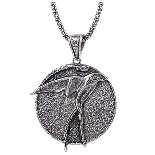 gujiu Witcher Necklace Wolf Medallion Colgante de la joyería de la joyería para el día de San Valentín, Navidad, cumpleaños (Color : B)
