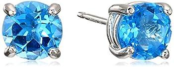Amazon Essentials Sterling Silver Round Swiss Blue Topaz Birthstone Stud Earrings  December
