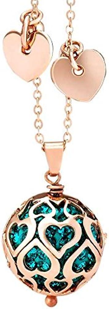 Boccadamo, collana da donna,in bronzo placcata oro rosa con boule in pavè di strass blu zirconi Srgr05