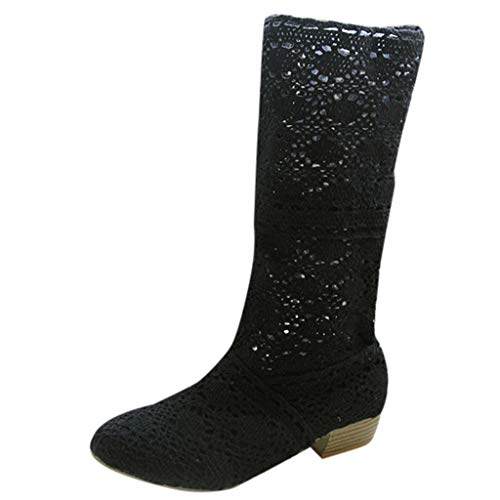 Women Fashion Leisure Designer Knitted Knee Boots Long Network Cut-Outs Shoes by LuckyGirls