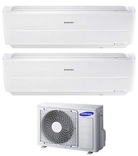 Samsung, Serie Windfree Evo - Climatizzatore 9000+12000 Btu, Dual Split Inverter, Classe A++/A, Gas, R32