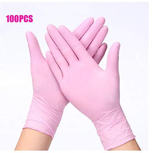 100 piezas de guantes desechables de color rosa de grado alimenticio, látex de alta elasticidad para cocina/experimento/limpieza/jardinería-XS