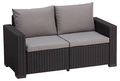 "\""Allibert by Keter\"" Gartenlounge Sofa California 2-Sitzer, graphit/panama cool grey, inkl. Sitz- und Rückenkissen, Kunststoff, runde Rattanoptik"