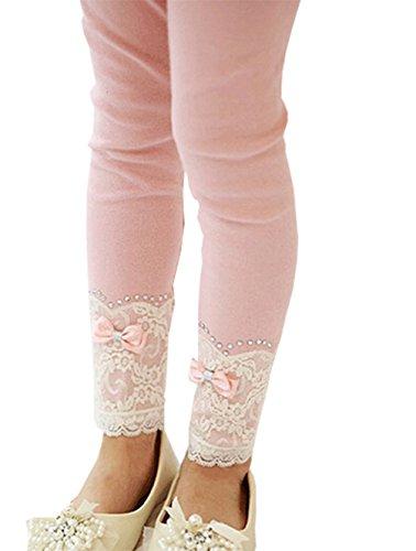 Romapig Winter Kids Girls Lace Flowers 3-7 Years Legging Pant Pink (7, Pink)