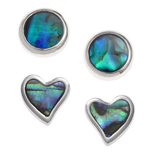 Kiara Schmuck-Set mit 2 Paar Ohrsteckern, grüne Herz-Ohrstecker und blaue, runde Ohrstecker mit natürlicher Paua-/Abalone-Muschel. Nicht anlaufende Silberfarbe, hypoallergen, rhodiniert.