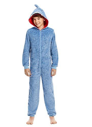 Boys & Toddlers Pajamas - Plush Zippered Kids Onesie With 3D Shark Hood - L