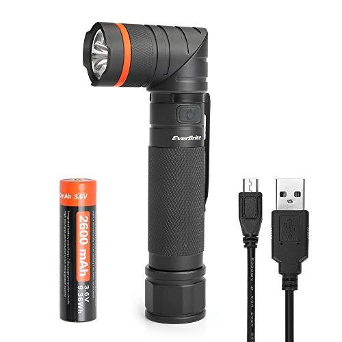 EverBrite Linterna LED USB Recargable Linterna UV Ultravioleta Faroles de Mano Alta Potencia Antorcha Multifunción Cabeza Giratoria 90° Base Magnetico Resistente al Agua IP65