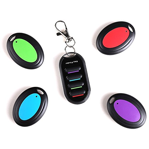 Key Finder - Wireless Localizador de Llaves Buscador Alarma Anti-pérdida Llavero Inteligente - 4 en 1 Set Key Finder (1 Transmisor por Control Remoto y 4 Receptores)