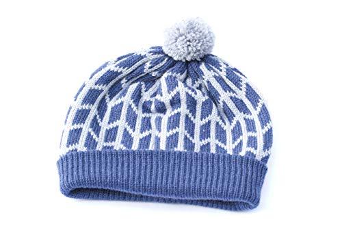 Merinowolle Mütze warme Wintermütze Unisex Mütze Skihut Herrenhut Damenhut blau Fair Isle Hut Pom Pom Beanie Hut Slouchy Beanie