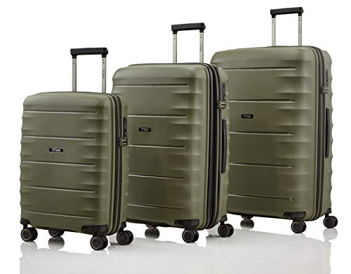 TITAN 4-Rad Koffer Set Größen L/M/S mit TSA Schloss, Bordtrolley erfüllt IATA-Bordgepäckmaß, Gepäck Serie HIGHLIGHT: TITAN Hartschalen Trolleys im Carbon Look, 842102-86, khaki (grün)