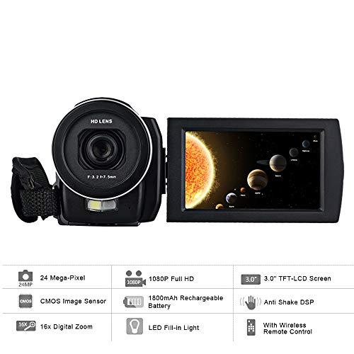 ZCFXGHH Videocamera Digitale 1080P 24MP 16X Anti-Shake 3.0' LCD Screen ruotabile Touch Macro videocamera DV con Telecomando Migliore Souvenir per la Famiglia e Gli Amici