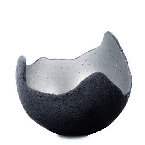 Lichtschale silber - S (15cm) - Beton schwarz - grau - Unikat handmade - Windlicht - Geburtstagsgeschenk - Deko - Weihnachtsgeschenk