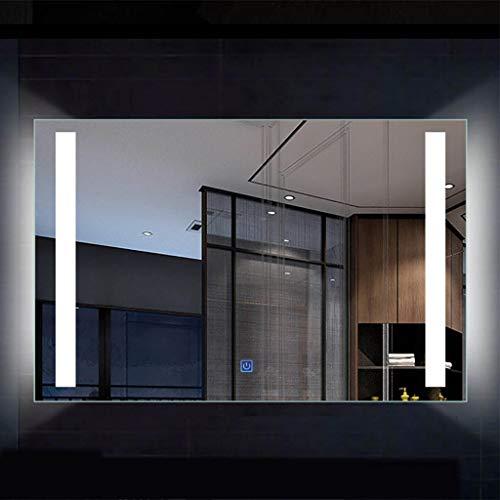 Badkamerspiegel met verlichting, led-verlichte badkamerspiegel, frameloze rechthoek, wandmontage, make-upspiegel van zilver, 60 x 80 cm / 70 x 90 cm