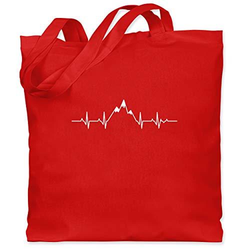 Shirtracer Symbole - Herzschlag Berge - Unisize - Rot - Liebe - WM101 - Stoffbeutel aus Baumwolle Jutebeutel lange Henkel