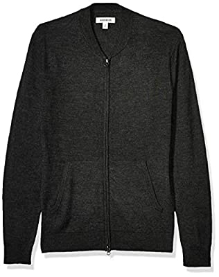 Amazon Brand - Goodthreads Men's Lightweight Merino Wool/Acrylic Bomber Sweater, Charcoal XXX-Large from Goodthreads