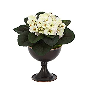 Mini 11in. African Violet Artificial Plant in Metal Chalice