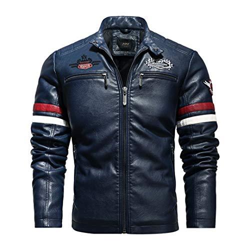 H-MetHlonsy Chaqueta para Hombre Chaqueta de Cuero para Motocicleta Chaqueta de Cuero de sección Delgada Chaqueta de Cuero Bordada Informal