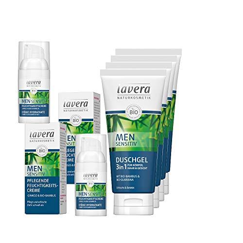 lavera Men Sensitiv Männerpflege Set 6tlg. mit Feuchtigkeitscreme und 3in1 Duschgel/Shampoo