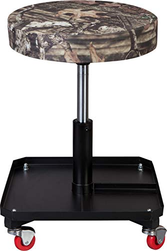 BIG RED TR6350MO Torin Rolling Pneumatic Creeper Garage/Shop Seat: Padded Adjustable Mechanic Stool with Tool Tray Storage, Mossy Oak Camo