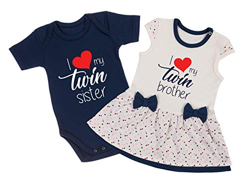 I Love My Twin Brother/I Love My Twin Sister Boy Girl Twin Baby Outfits