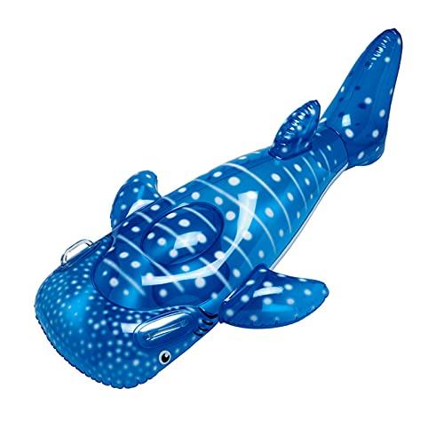 ZKLNO Boyas Inflables para Niños, Piscina De Tiburón Ballena Realista Flotando En El Agua Gran Fila Flotante De PVC Ecológica con Asas Dobles,Azul