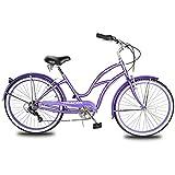 TRACER TAHA Womens Beach Cruiser Bike,26-Inch Wheels,Hi-Ten Steel Frame,1/7 Speed,Soft Tower Cruiser Seat,Adult Hybrid Bicycle,Multiple Colors