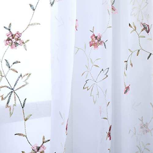 Taisier Home White Light & Airy Embroidery Sheer Curtain 95 inches Long Red Flower Buds Embroidered Curtain Living Room Voile Rod Pocket Window Treatment 2 Panels Rose Red Flower Buds on White