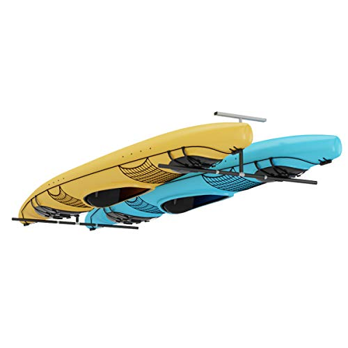 Goplus 2 Kayak Ceiling Rack, Overhead Ceiling Mount Hanger Kayak Storage Rack for Surfboard SUP & Kayak, Garage and Home Use