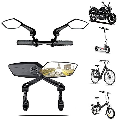 2 PCS Rétroviseurs vélo bicyclette scooter moto haute gamme | Compatibles tous modèles Réglable 360 Rotatif Faites le tour de France en toute sécurité Miroirs latéraux universel