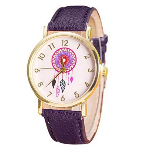 Reloj Fantasía Mujer Dreamcatcher Diseño de Atrapasueños Dibujado con–Pulsera púrpura