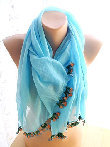 online shopping Turquoise Blue Crinkle Fashionable Scarf Shawl Long Women Accessories