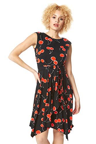Roman Originals damesjurk met zipfelzoom en oosterse bloemen - casual elegante jurk met korte mouwen, alledag, zomer, vakantie, avonds, speciale gelegenheden, party, gebloemd