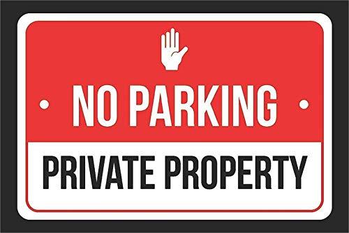 """Cartel decorativo de metal con texto en inglés """"No Parking Private Property"""" (20 x 30 cm), diseño vintage"""