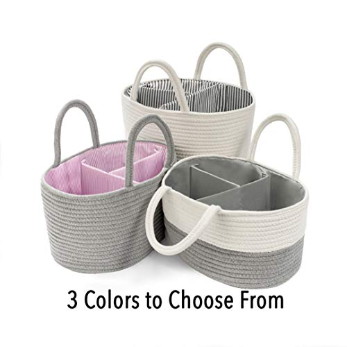 """BASKETCASE""""Best Quality"""" Utility Basket Diaper Caddy (Gray/White with Gray Solid Lining) Nursery Storage Bin and Car Organizer for Diapers and Baby Wipes"""