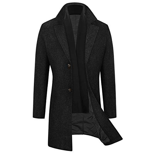 WULFUL Men's Slim Fit Winter Wool Coat Long Trench Coat Business Jacket (Black, Large)