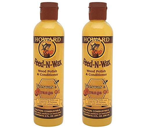 Howard FW0008 Feed-N-Wax Wood Polish and Conditioner, 8-Ounce (2-Pack)