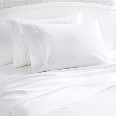 Mayfair Linen Pillow Case Set 500 Thread Count 100% Egyptian Cotton 2pc, Silky Soft & Durable (Standard, White)