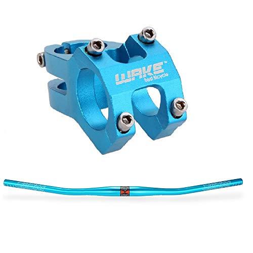 Lixada - Acople de manillar MTB de 31,8 mm de aleación de aluminio + manillar plano de 780 mm anodizado para bicicleta de montaña, Blu(Set manubrio)