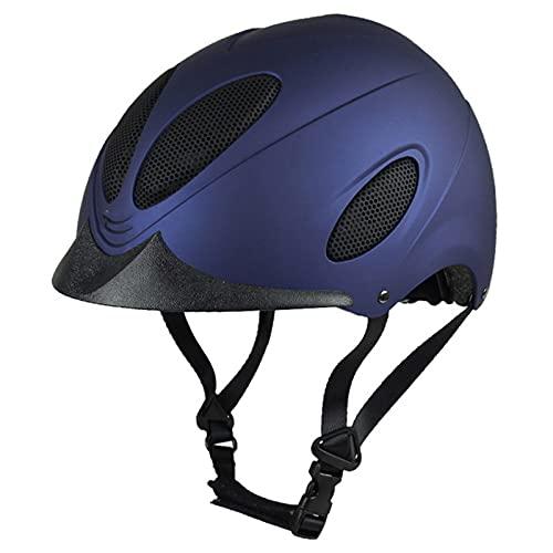 LYQY, Casco de equitación, casco básico para montar a caballo, certificado CE, puertos de ventilación máxima, para adultos y niños- AZUL M