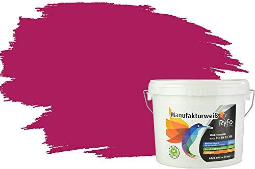 RyFo Colors Bunte Wandfarbe Manufakturweiß Beere 3l - weitere Violett Farbtöne und Größen erhältlich, Deckkraft Klasse 1, Nassabrieb Klasse 1
