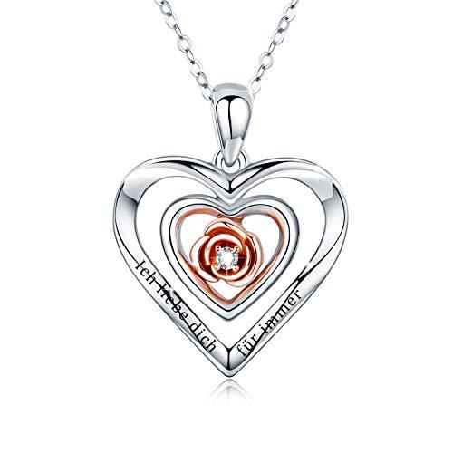 Rose Blume Herz Halsketten Damen 925 Sterling Silber Ich liebe dich für immer Kette Doppel Herz Kette Rosen Kette Jahrestag Valentinstag Muttertag Geschenk für Damen/Frau/Freundin/Tochter