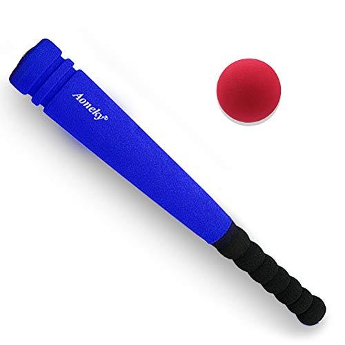 Aoneky Mini Kinder Baseballschläger, Schaum Griffe, Baseballschläger mit Ball, Geburtstagsgeschenk & Spielzeug & Festgeschenk, Outdoor Sport Spielzeug, Länge 60cm, blau