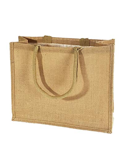 Jute Burlap Tote Bags Soft Cotton Handles Laminated Interior Reusable Grocery Shopping Bags w/Full Gusset by TBF Bags (Pack of 6, Large - 15.5' x 13.75' x 6')