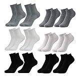 Caudblor 12 Pares Show calcetines de corte bajo de algodón para hombres y mujeres, blanco/gris/negro,6*SHORT+6*LONG, Hombre