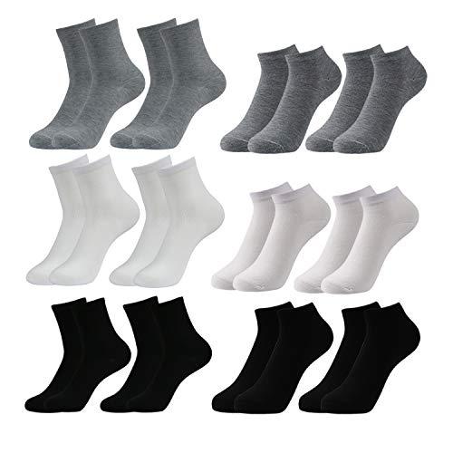 Caudblor 12 paar Sneaker Socken Herren Damen Sportsocken Kurze Halbsocken Baumwolle, Schwarz/Weiß/Grau (Herren, 6*SHORT+6*LONG)