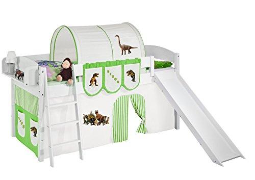 Lilokids Spielbett IDA 4105 Dinos Grün Beige - Teilbares Systemhochbett weiß - mit Rutsche und Vorhang