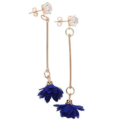 TOOGOO Carino panno fiore lungo semplice alla moda in lega, panno, zircone lungo nappa ciondolante orecchino carino per le donne blu